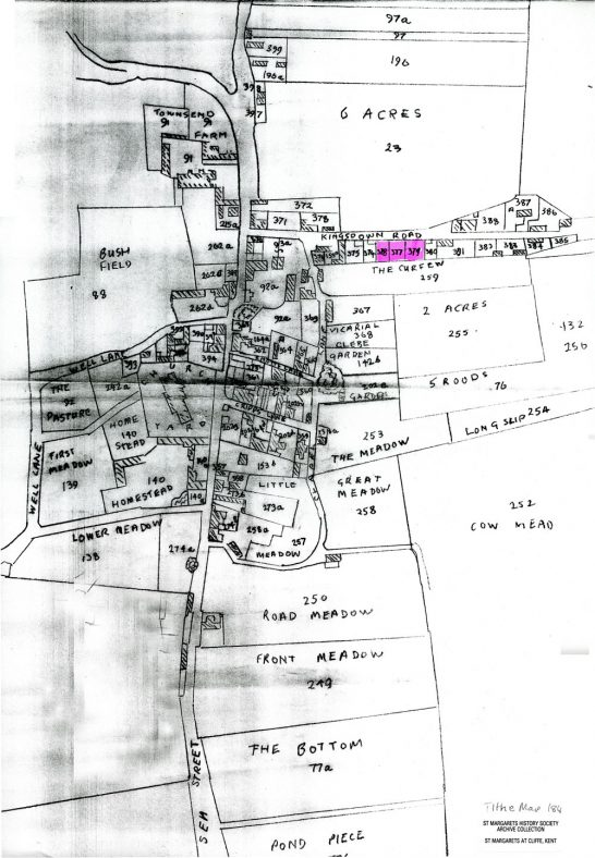 1840 Tithe Map showing the site of the National School, Kingsdown Road