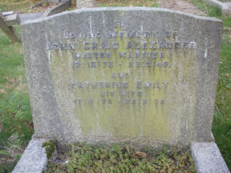 Gravestone of ALEXANDER John Craig 1949; ALEXANDER Katherine Emily 1950 | Dawn Sedgwick