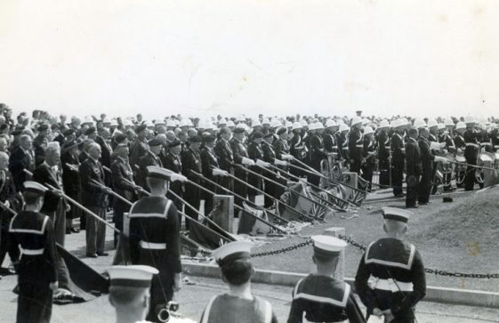 An undated photograph showing the annual ceremony at the Dover Patrol Memorial
