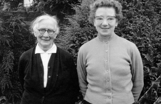 Alice Newman and Maude Finnis in the garden of Street Farm Garage