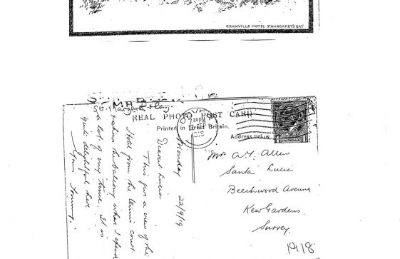 Drawing of The Granville Hotel, Hotel Road. postmark 1918