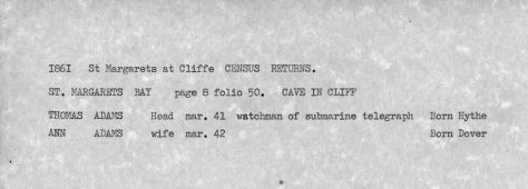 1861 census returns for the Cave in the Cliff  St Margaret's Bay