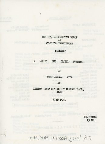 Programme for the WI Drama Festival. 1971