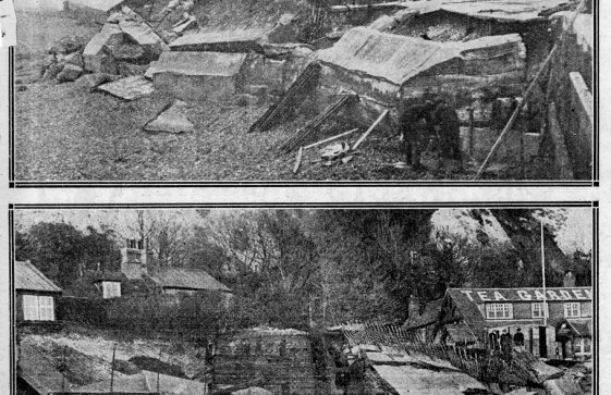 Storm damage to the sea wall St Margaret's Bay. 22 December 1933