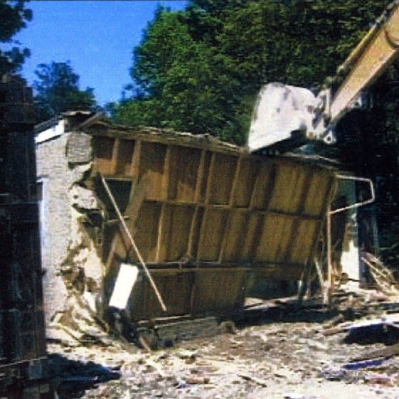 Photographic record of the end of the old Village Hall 2001