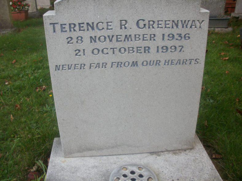 Gravestone of GREENWAY Terence 1997 | Dawn Sedgwick