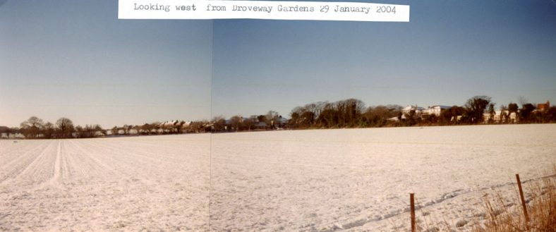 A snowy scene looking east and west from Droveway Gardens. 2004