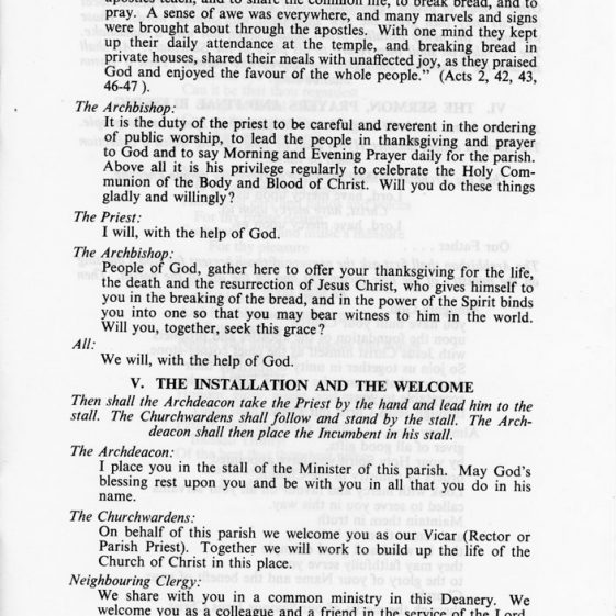 Order of Service for Induction of Rev Christopher Wayte 20th December 1985