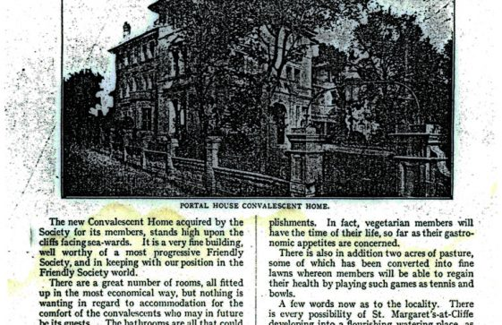 Extract from 'The Depositor', magazine of the National Deposit Friendly Society, covering the opening of the newly acquired Portal House 19 St Margaret's, 1920