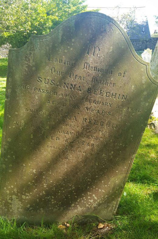 Gravestone of BEECHIN Susanna 1896; BEECHIN Emma 1911   Dawn Sedgwick
