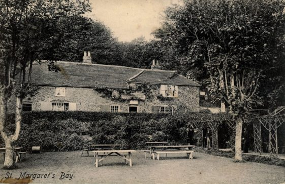 The Green Man, St Margaret's Bay from the garden. c1900