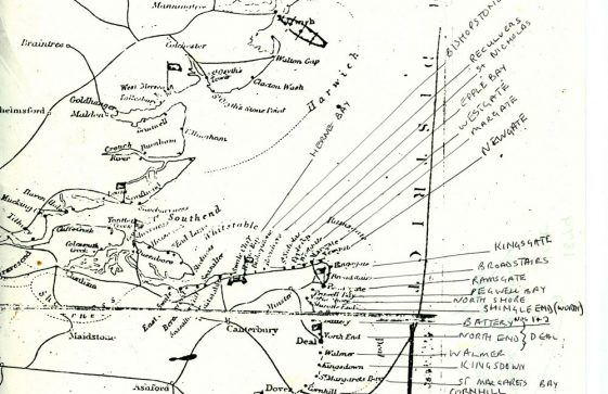 Map of Coastguard Stations in the east of England showing St Margaret's. 1873