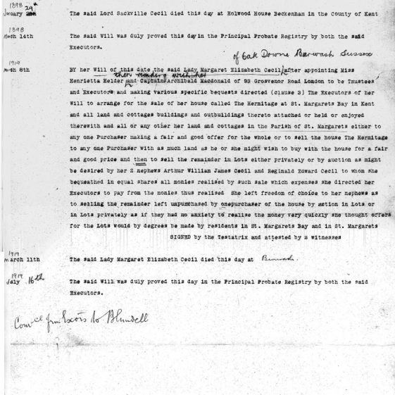 Abstract of title of Lady Margaret Cecil to the freehold of Sunhill, Bay Hill