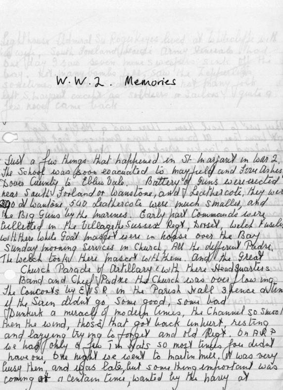 ARP Warden handwritten memories of WW II