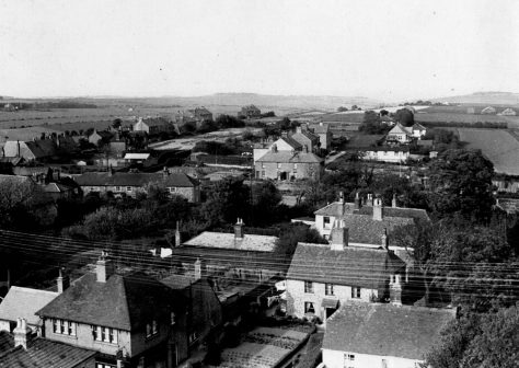 Curling Cottages and Chapel Lane from the church tower showing the Newman family home