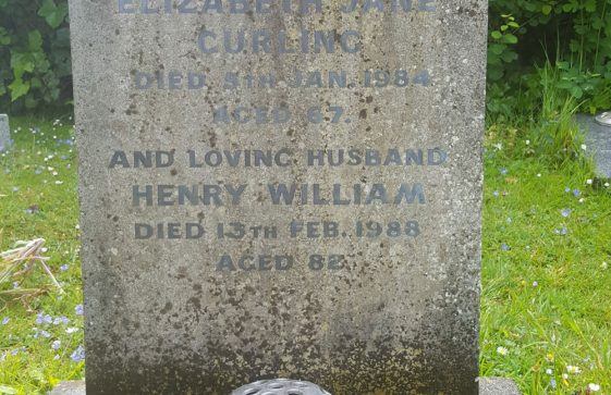 Gravestone of CURLING Elizabeth Jane 1984; CURLING Henry William 1988
