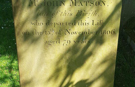Gravestone of MATSON John 1806