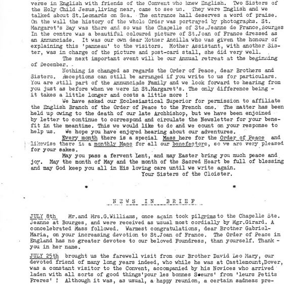 First Newsletter of the Nuns after their return to France. 1977