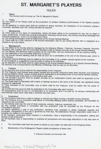 Rules for the St Margaret's Players. 1995