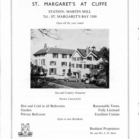 Advertisements for Maddieson's Holiday Camp and Cliffe Hotel in 'Dover - The Gateway of England. Official Guide 1964'