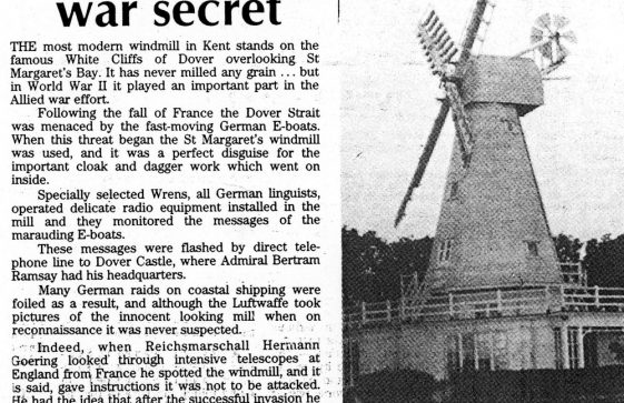 The Windmill on the cliffs at South Foreland Valley during WW2