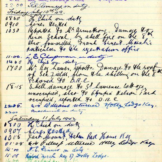 St Margaret's ARP (Air Raid Precautions) Log. Volume 5. 25 September 1941 - 17 July 1942. Pages 136 - 144