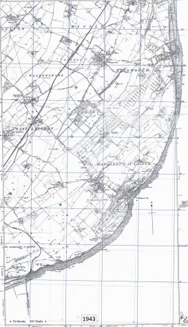 Bomb and shell sites in St Margaret's. 1943
