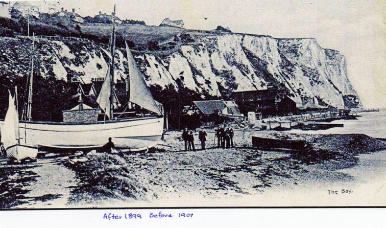 Boats on St Margaret's Bay beach. c1900