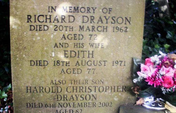 Gravestone of DRAYSON Richard 1962; DRAYSON Edith 1971; DRAYSON Harold Christopher 2002