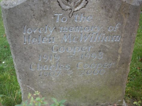 Gravestone of COOPER Helen McWilliam 1998; COOPER Charles 2000