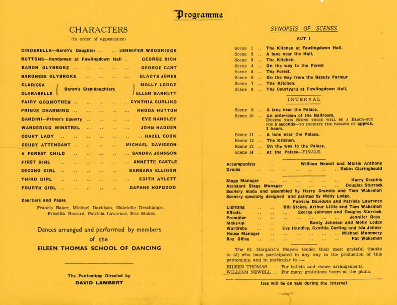 Programme of the St. Margaret's Players pantomime 'Cinderella'. 1960