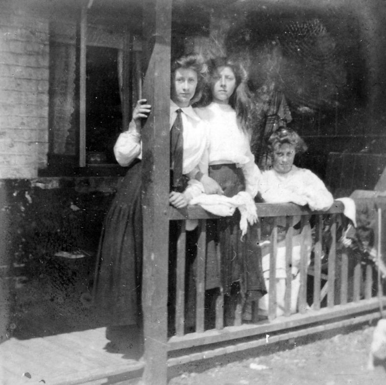 Hilda, Daisy and Gladys on a veranda in The Bay. 1900 - 1910