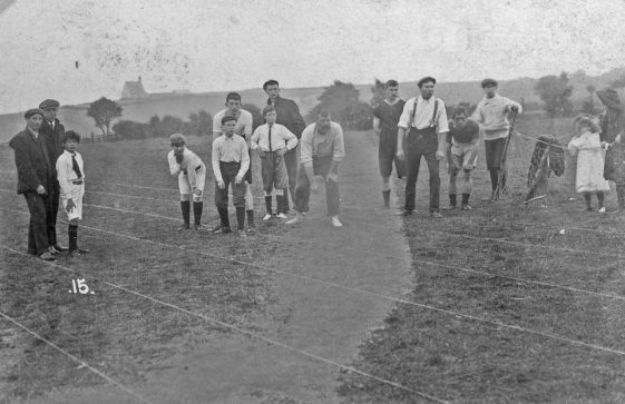 Boys' race at St Margaret's Sports Day. postmark 1909