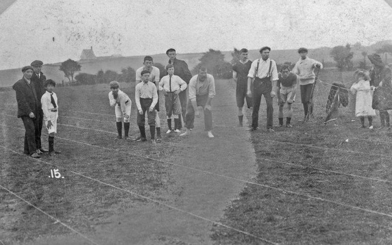 Boys' race at St Margaret's Sports Day. postmark 1909