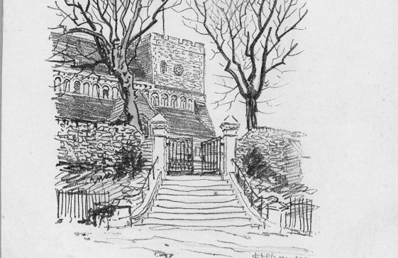 Drawing of St Margaret's Church by H Thomson. mid 20th century
