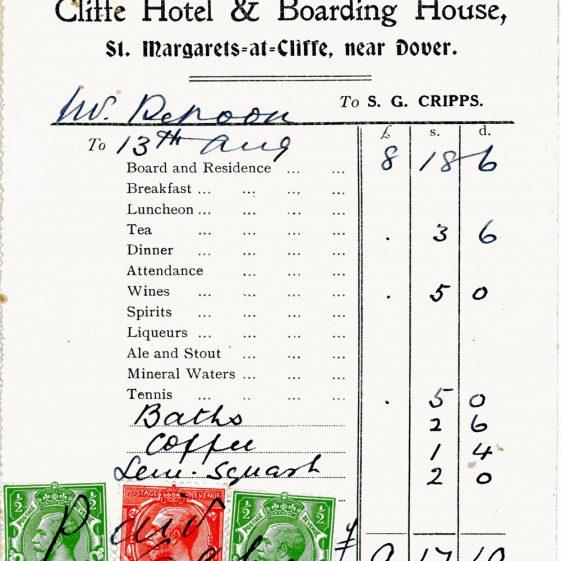 Cliffe Hotel bills. 1926