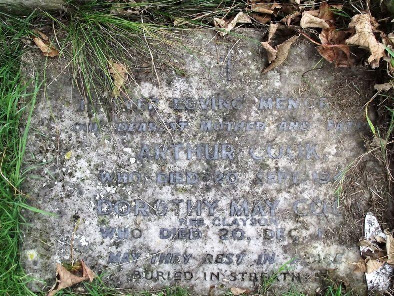 Gravestone of CLAYSON Jesse 1947; CLAYSON Lilian Margaret 1948; COOK Arthur 1942; COOK (nee CLAYSON) Dorothy May 1951 | Dawn Sedgwick