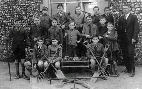 Boys' Gardening Class with Mr H Stanway, National School, Kingsdown Road. 1922