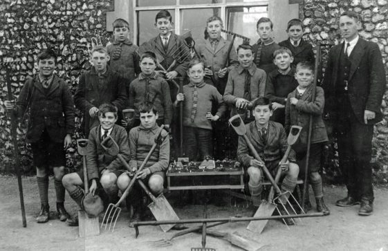 Boy's Gardening Class with Mr H Stanway, National School, Kingsdown Road. 1922