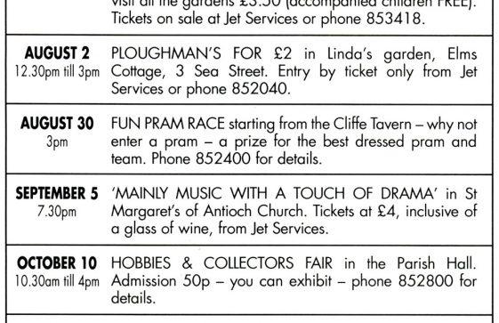 Village Hall fund raising events. 1998 - 1999