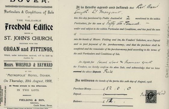 Receipt of purchase of church organ by Revd Basil Smyth.  20 August 1908