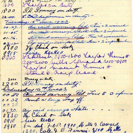 St Margaret's ARP (Air Raid Precautions) Log. Volume 7. 15 February 1943 - 25 October 1943. Pages 70-81