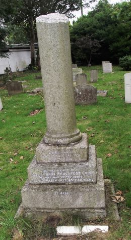 Gravestone of CORE James 1920; CORE Annie Proudfoot 1929
