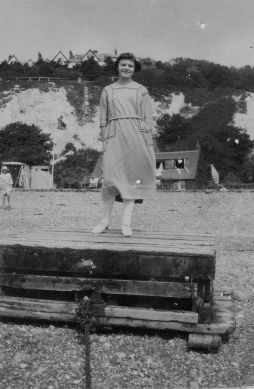 Denoon friend, Lorna Darch on the beach. c1919