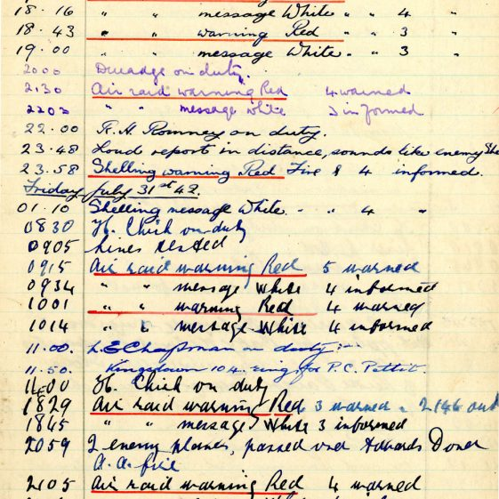 St Margaret's ARP (Air Raid Precautions) Log Volume 6. 17 July 1942 - 16 February 1943. Pages 1-9