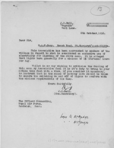 Correspondence between the Ratepayers Association and RAF re use of electricity. 1958