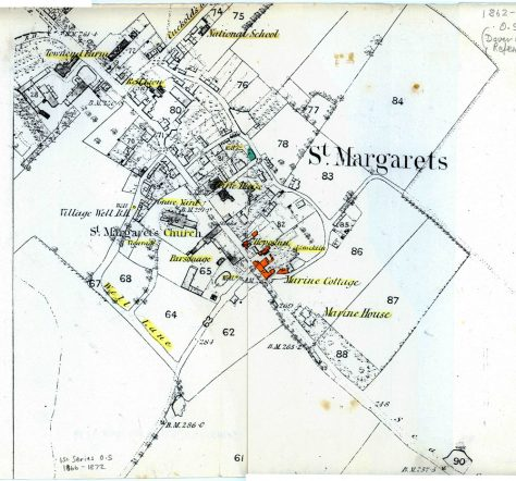 OS Map of St Margaret's with Cliffe House highlighted. 1862 to 1872