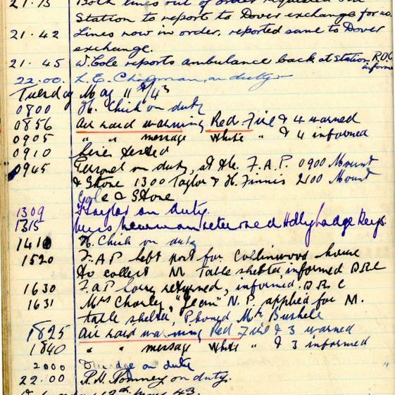 St Margaret's ARP (Air Raid Precautions) Log. Volume 7. 15 February 1943 - 25 October 1943. Pages 45-56