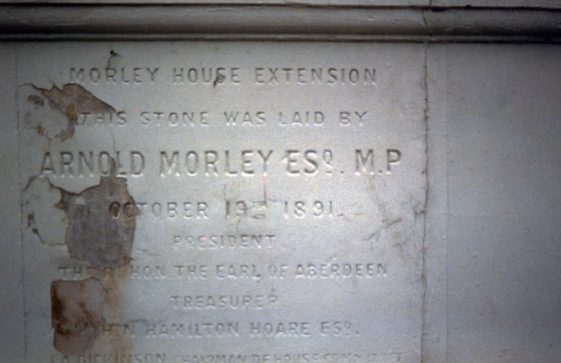 Morley House new wing foundation stone. 19 October 1891
