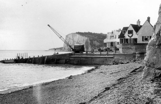 Repairing the groynes at The Leas end of the Bay. Early 1950s